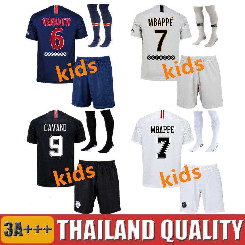 8cb0fce34 Kids CAVANI MBAPPE PSG Soccer Jerseys Kit 2018 2019 DI MARIA ...