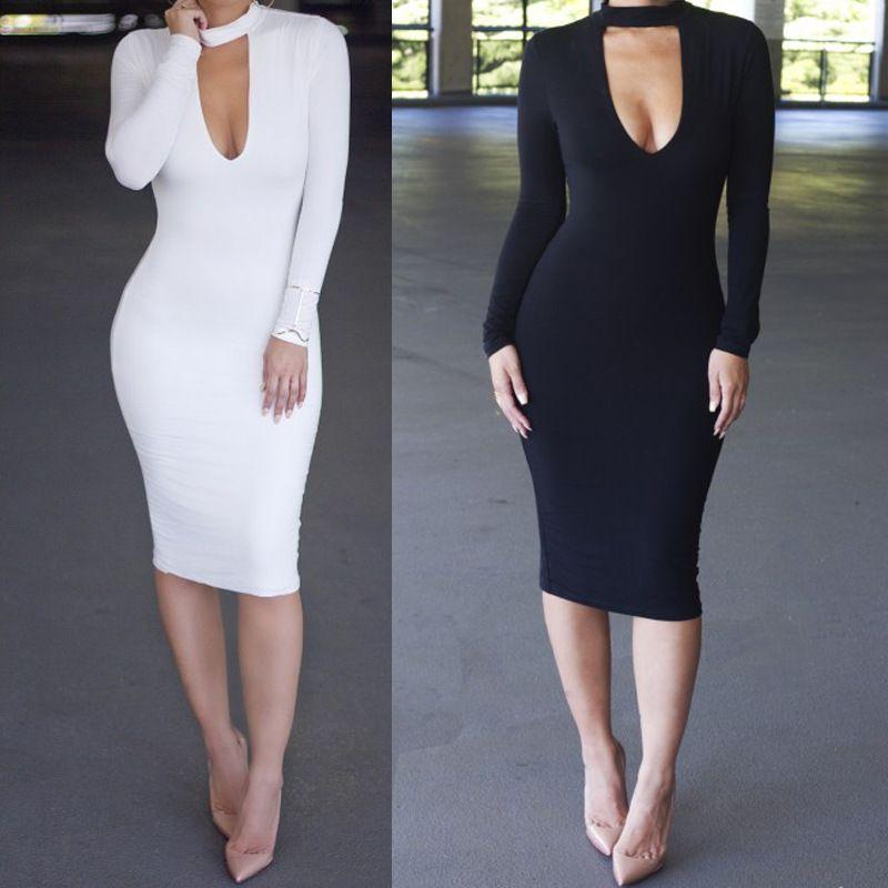 151eb507 Ebay Amazon Black And White Long-sleeved Body Sexy Skirt Fall New ...