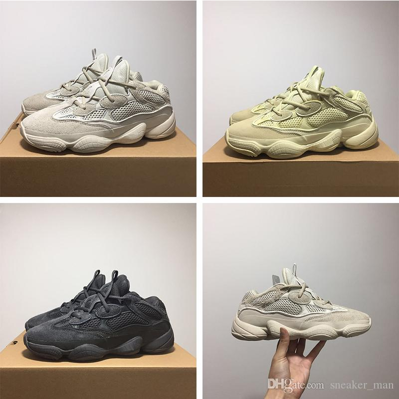 huge selection of da80c 5e9cc Desert Rat 500 Mens Designer Shoes Kanye West 500 Blush Supermoon Yellow  Utility Black Cow Leather Sports Shoes 36-46
