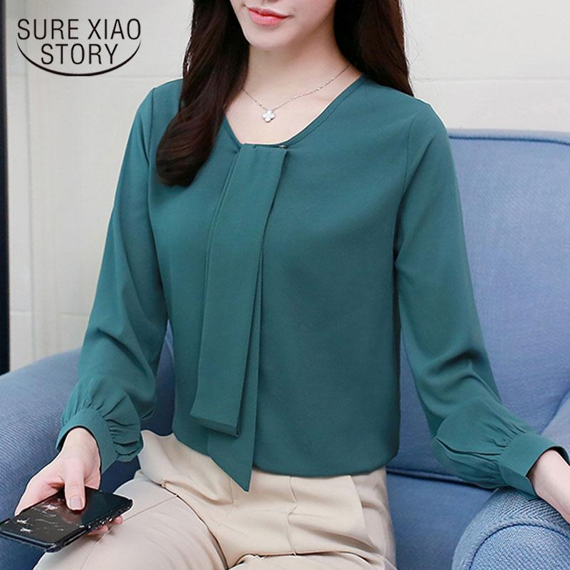 9192098400a8 Blusa de gasa camisa moda 2019 manga larga sólido causal tops trabajo de  oficina ropa suelta blusas y blusas para mujer 1983 50