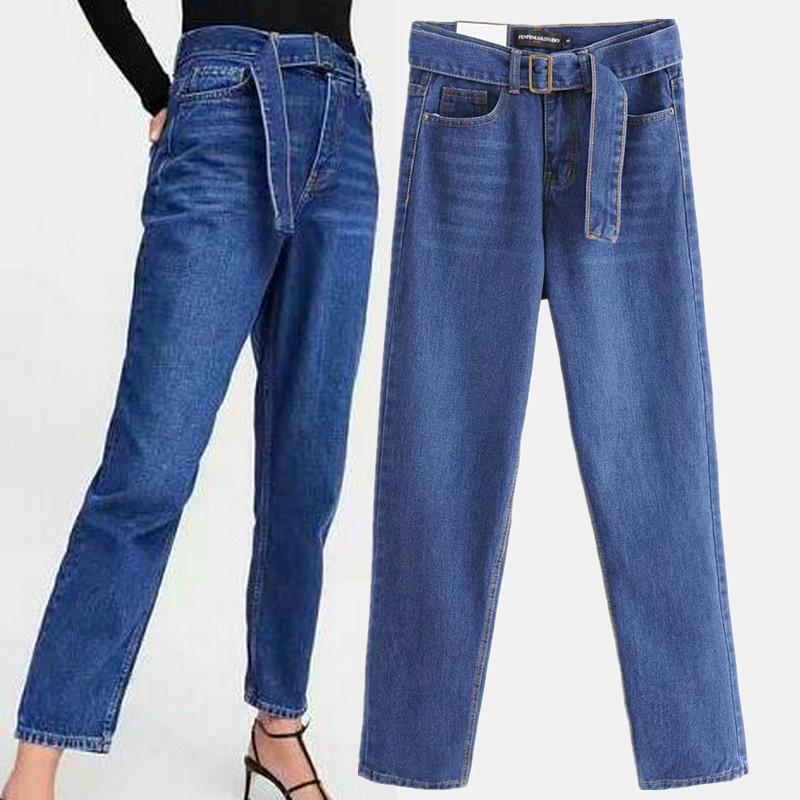 3f8f9a95ce3 Compre Bonitos Pantalones Vaqueros De Talle Alto Azul Oscuro Con Hebilla  Con Cinturón De Cremallera Vaqueros Harem Jeans Vintage Denim Pantalones  6056 062 A ...