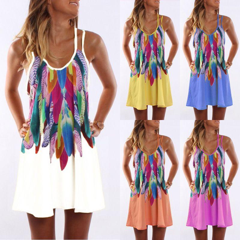 9502a40e3a6 Vintage Print Dress Women 2019 Summer Style Sexy Sleeveless Beach A Line  Party Dress Ladies Casual Ukraine Robe Femme Vestidos Womens Knit Dresses  Party ...