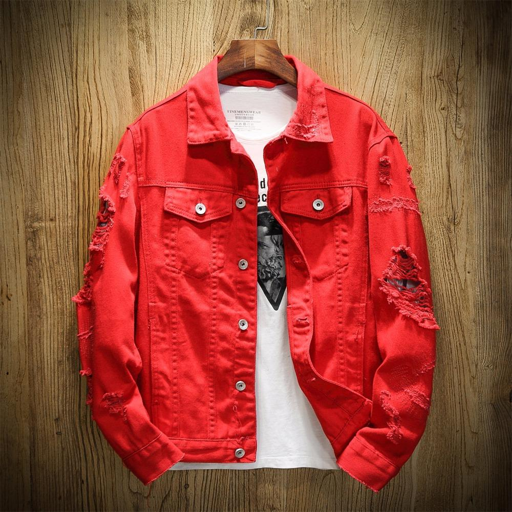 cute cheap various design quality products Free Shipping Hot New Fashion Brand Denim Jacket Men Ripped Holes Mens Pink  Jean Jackets New 2019 Garment Washed Mens Denim Coat