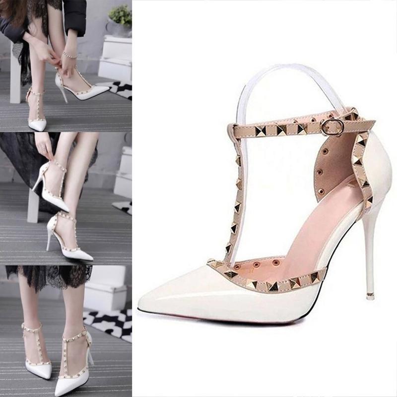 78dde679 Compre Zapatos De Vestir De Diseñador Venta Caliente Mujer Bombas Moda Para Mujer  Sandalias Para Mujer Remache Decoración De Cuero Pu Cuero Mujer Tacones ...