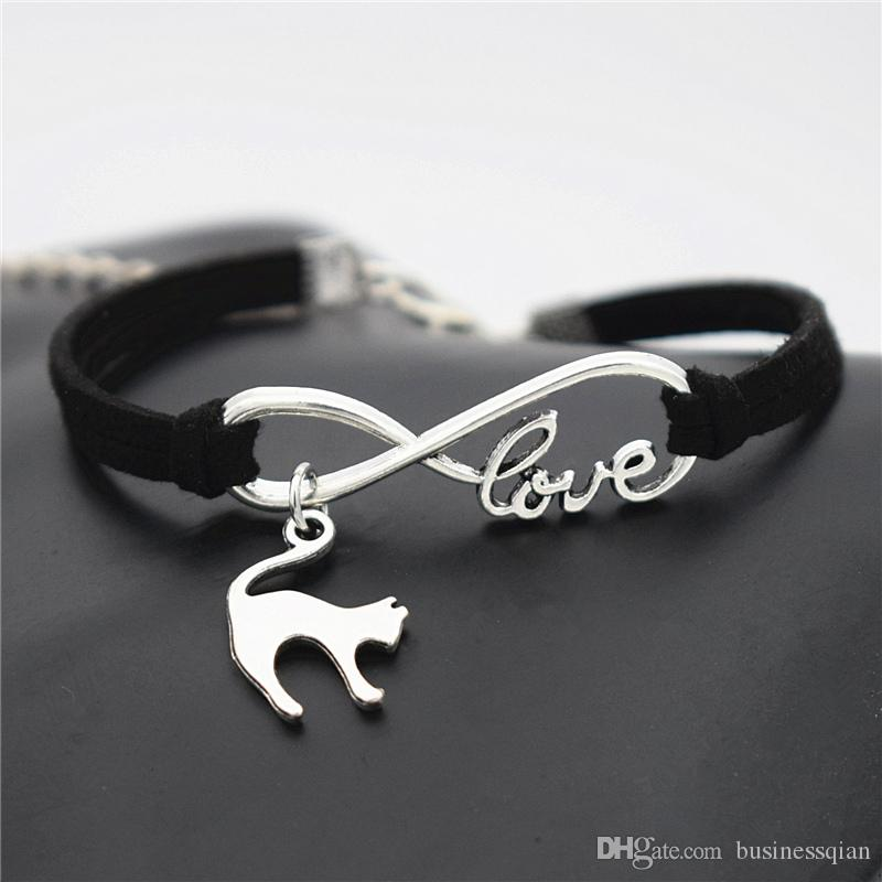 Silver plated Infinity love Elegant Animal Cat bracelet & bangles Black Leather Suede charm Men Women jewelry cute nice pretty birthday gift