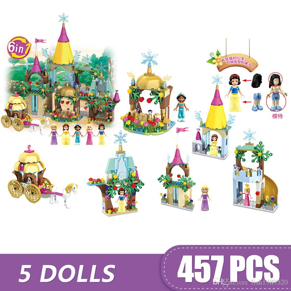 457PCS Small Building Blocks Toys Compatible with Legoe 6 In 1 Sparkling Ice Castle (Horse Carriage)Gift for girls boys children DIY