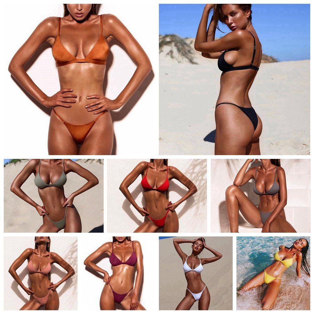 a836f57669ad Compre ARXIPA 2019 Sexy Micro Bikini Set Triángulo Traje De Baño De ...