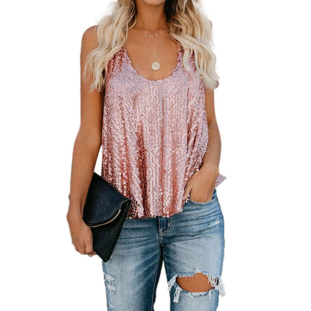 385bddd5227c20 2019 New Fashion Women Summer Tank Tops Cami Sequin Casual Plain Sleeveless  Vest Casual Female Sexy Loose Solid 2019 Plus Size From Luote, $12.18 |  DHgate.