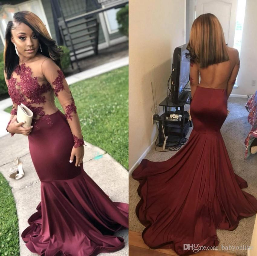 2019 New Arrival Burgundy Long Sleeve Prom Dresses Sheer Illusion Top Jewel Neck Backless Long Evening Gowns BC1245