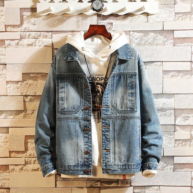 lo último 126f2 ab003 Chaqueta japonesa de mezclilla con bordado vintage para hombre, chaqueta de  mezclilla masculina suelta de algodón, cálida pareja, jean bomber, ...