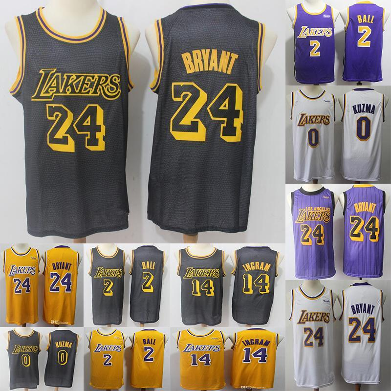 innovative design d2c16 03ae1 Men s jerseys Lonzo 2 Ball shirts Kyle 0 Kuzma Kobe 24 Bryant Brandon 14  Ingram basketball jersey