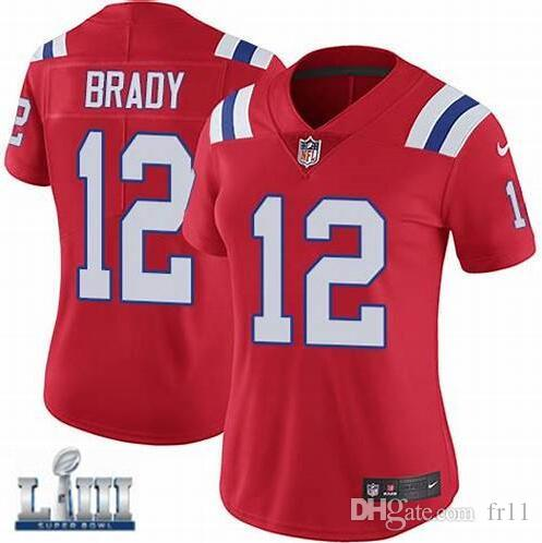 Womens Patriots Tom Brady Jersey Super Bowl LIII Rob Gronkowski Julian  Edelman Custom Vapor Untouchable American Football Jerseys Shirts New Tom  Brady ... fa0e67ae9d