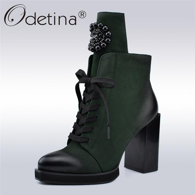 69c1f556b74 Odetina Autumn Winter New Fashion Lady Ankle Boots Metal Decoration Crystal  Square High Heels 10cm Side Zip Lace Up Women Boots Ankle Boots Cheap Ankle  ...