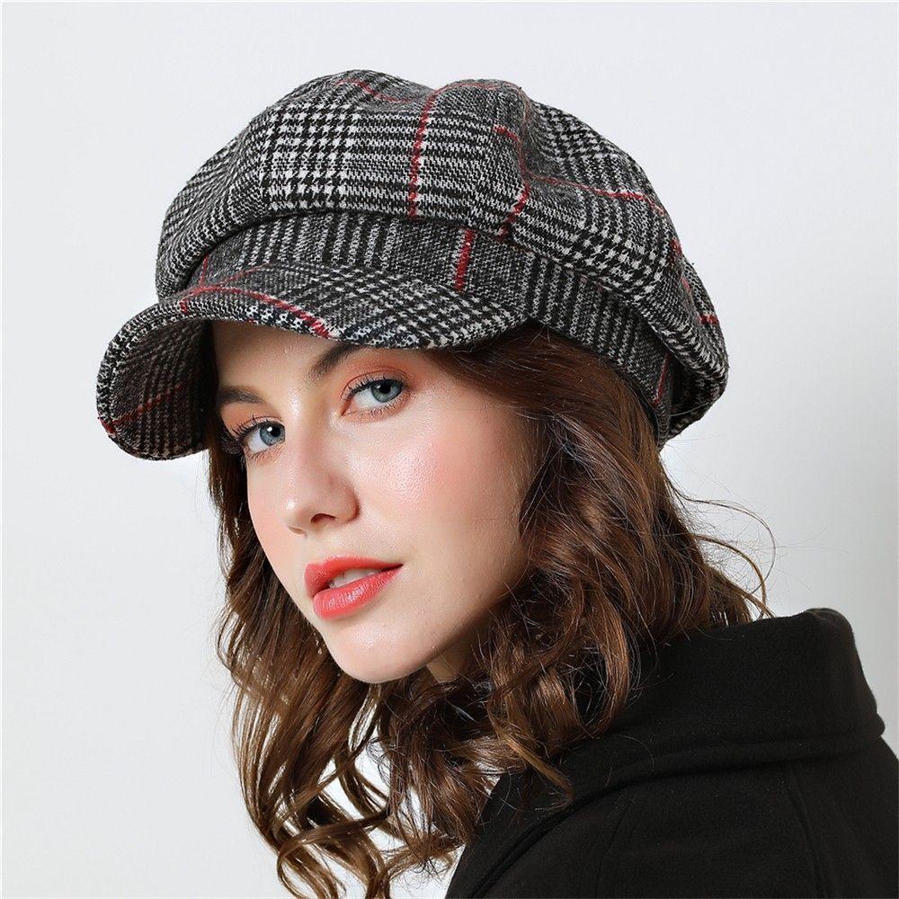 a1cf2addbc Women Baseball cap For Winter Female Cotton Hats Plaid Vintage Fashion  Octagonal Casual boina Autumn 2018 Brand New Women's Caps
