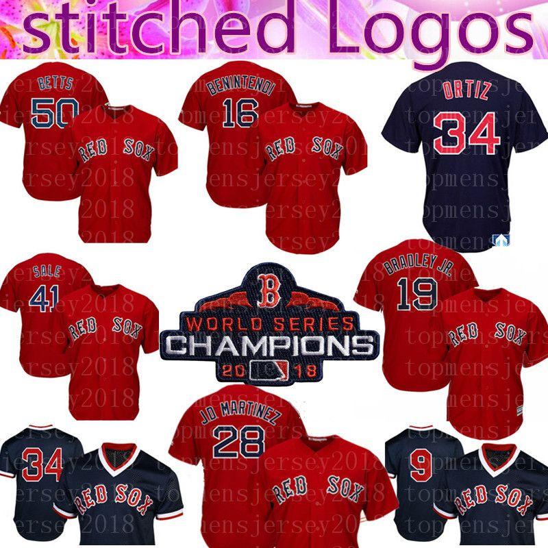2019 Boston Red Sox Jersey 28 JD Martinez 16 Andrew Benintendi 50 Mookie  Betts 41 Chris Sale 34 Ortiz 19 Jackie Bradley Jr. Baseball Jerseys 88 From  ... 5f094f1d510