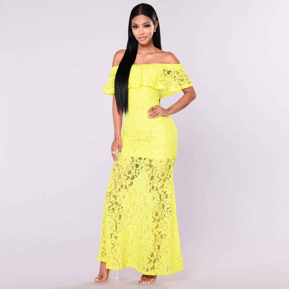 7da39d3376c New Fashion Sexy Women Floral Lace Dress Ruffled Off Shoulder Slim Bodycon  Maxi Long Cocktail Party Dress Yellow Royal Blue Summer Dress Women Black  And ...
