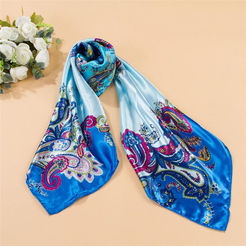 e41423f4647 90*90cm Women Vintage Flower Painted Square Scarf Imitated Silk Satin Neck  Shawl
