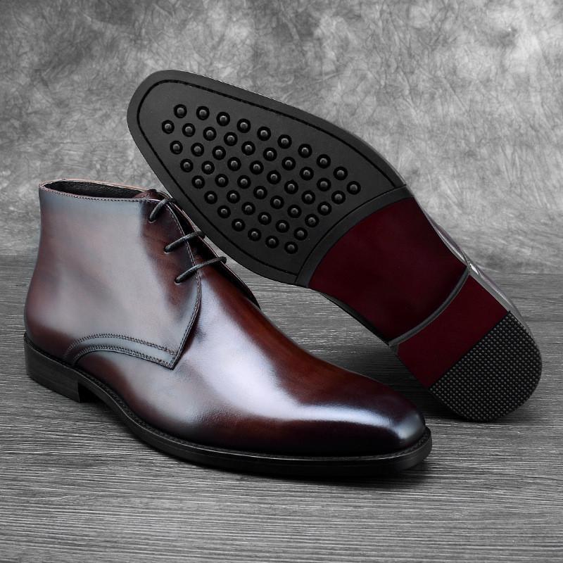 8dc6e31bc1a Compre Calzado De Lana Plantilla Negro   Marrón Para Hombre Botines De  Vestir Botas De Cuero Genuino Invierno Zapatos Sociales Hombre Zapatos De  Negocios A ...