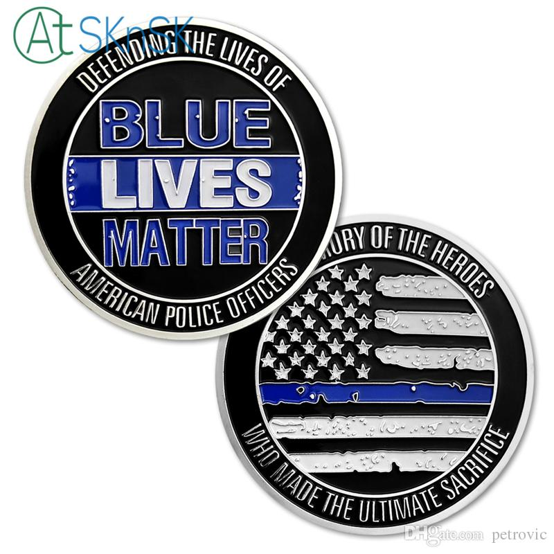 Blue Lives Matter Challenge Coin Defending the American Police Officers  Medal Coin Custom US Flag Coins Souvenir Gift