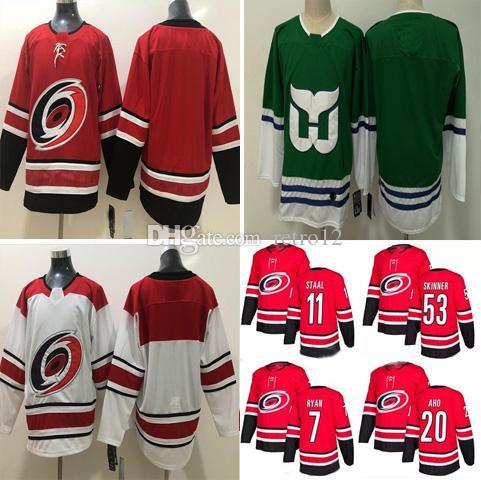 1bce13f64 2019 Custom Any Name Carolina Hurricanes Hockey 20 Sebastian Aho 11 Staal  37 Andrei Svechnikov Stitched Red White Jerseys S 3XL From Retro12
