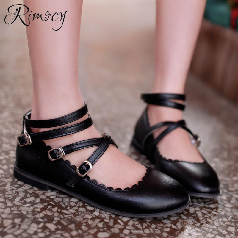 44c4b7daf4 Compre Rimocy Lolita Tacones Planos Zapatos Para Niñas Moda Volantes Pu  Zapatos De Cuero Mujer Banda Estrecha Hebilla Punta Redonda Color Caramelo  A  33.55 ...