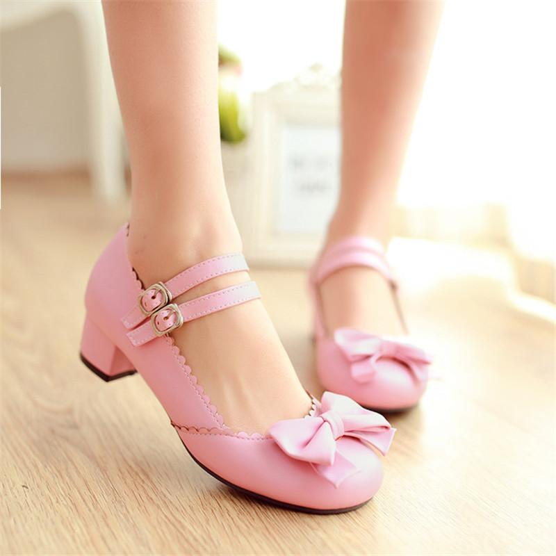 9b9f11ab0dd46 Dress Shoes 2019 New Hot Girls Sweet Bowktie Womens Lolita Mary Janes Low  Heel Ballet Pumps Ankle Strap Plus Size Us4.5 10.5 Mens Sneakers High Heels  From ...