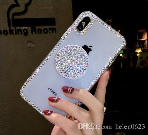 221e56d5083 Luxury Capa Bling Diamond Airbag Bracket Rhinestone Crystal Clear Soft Case  Cover For Iphone X XS MAX XR 5S 6 6S 7 8 PLUS Case Cell Phone Carrying Case  Cell ...