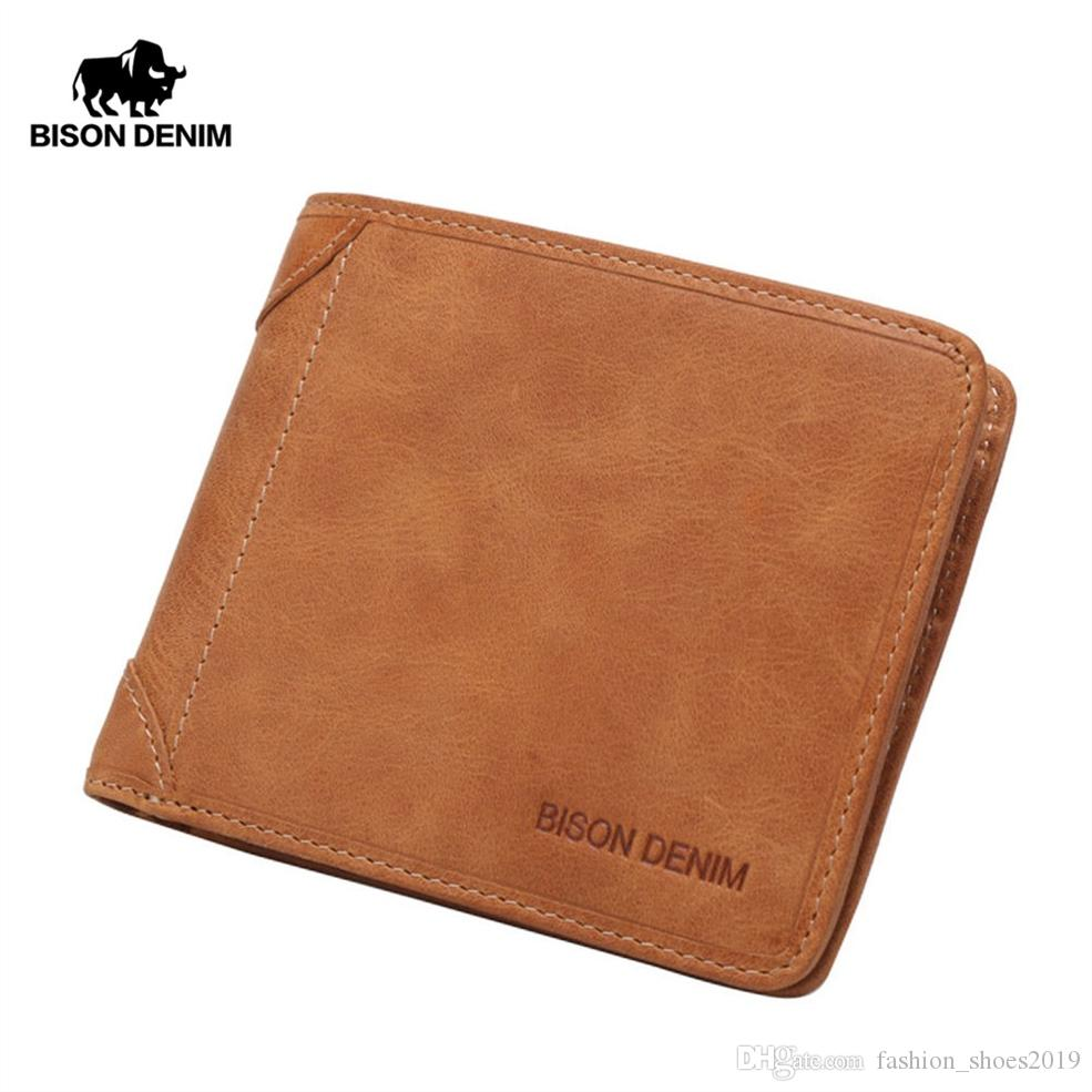 6166602a05 BISON DENIM Vintage Cowhide Purse Men's Genuine Leather Wallet Business  Card Holder Clutch Male Document Purse Oil Wax W4361 #125116