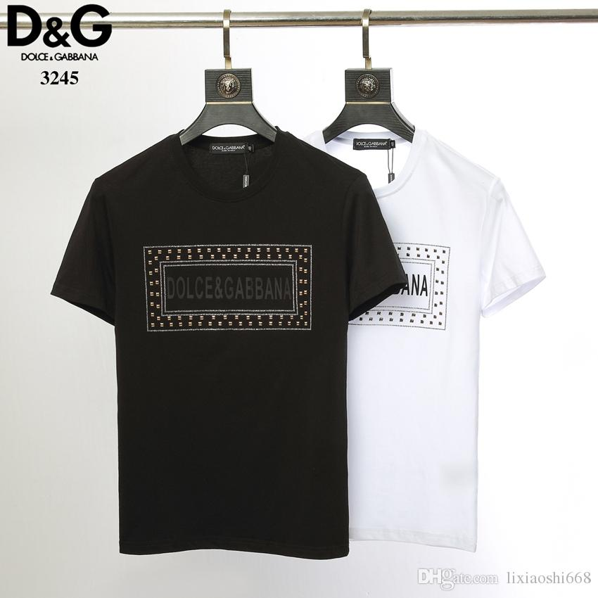 dcf9a7c2f03 Wholesale Men'S Summer 2019 Men'S Wear Designer T Shirts European Velvet  Round Neck Cotton Short Sleeved Luxury Brand Men'S T Shirt 027 Crazy T  Shirts ...