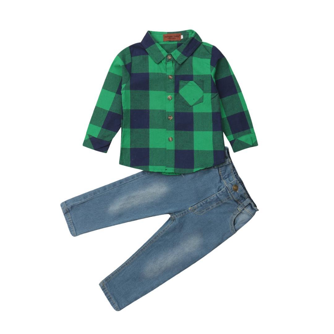 2018 Fashion Kid Baby Boy Long Sleeve Plaid Top T Shirt Jeans Denim Pants 1-7Y Outfit Baby Clothes Set new