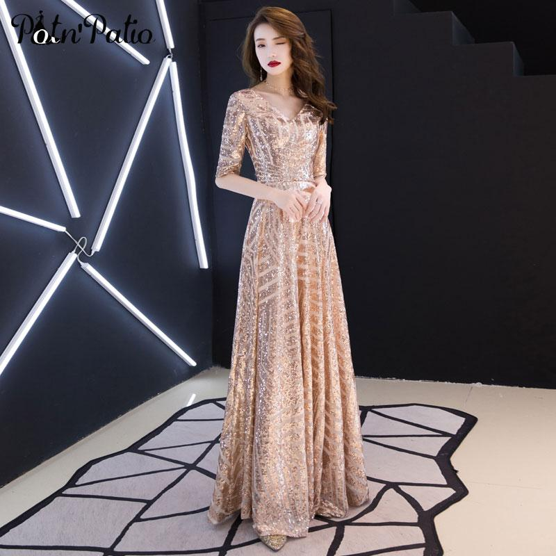 e898ee6a9 Luxury Sequined Prom Dresses 2019 Elegant V Neck A Line Floor Length Prom  Dresses Long With Half Sleeves Plus Size Resale Prom Dresses Shop Prom  Dresses ...