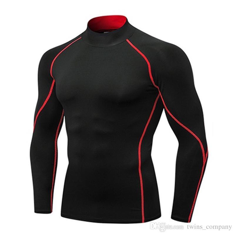 c2e2908ba1 Compre Aptidão De Manga Longa Camisa Corrida Dry Fit Sportswear Men Treino  Jersey Men Esporte Camiseta Compressão Apertada Ginásio Camisa De  Twins company