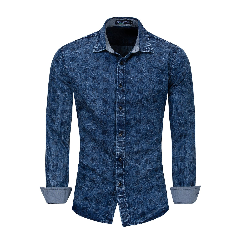 43a5b4fb1d8 2019 2019 Men Printed Denim Shirt 100% Cotton Long Sleeve Plaid Shirts  Casual Fashion Street To Wear Clothing From Sinofashion