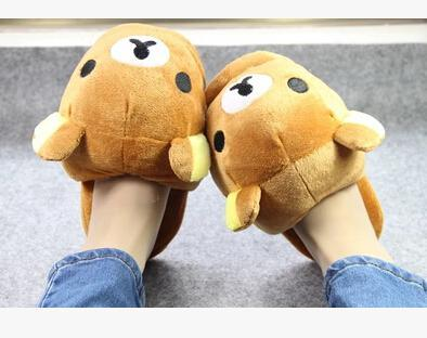 Wholesale-Super cute soft plush winter warm big head Rilakkuma bear home indoor slippers,floor slipper,Christmas&birthday gift
