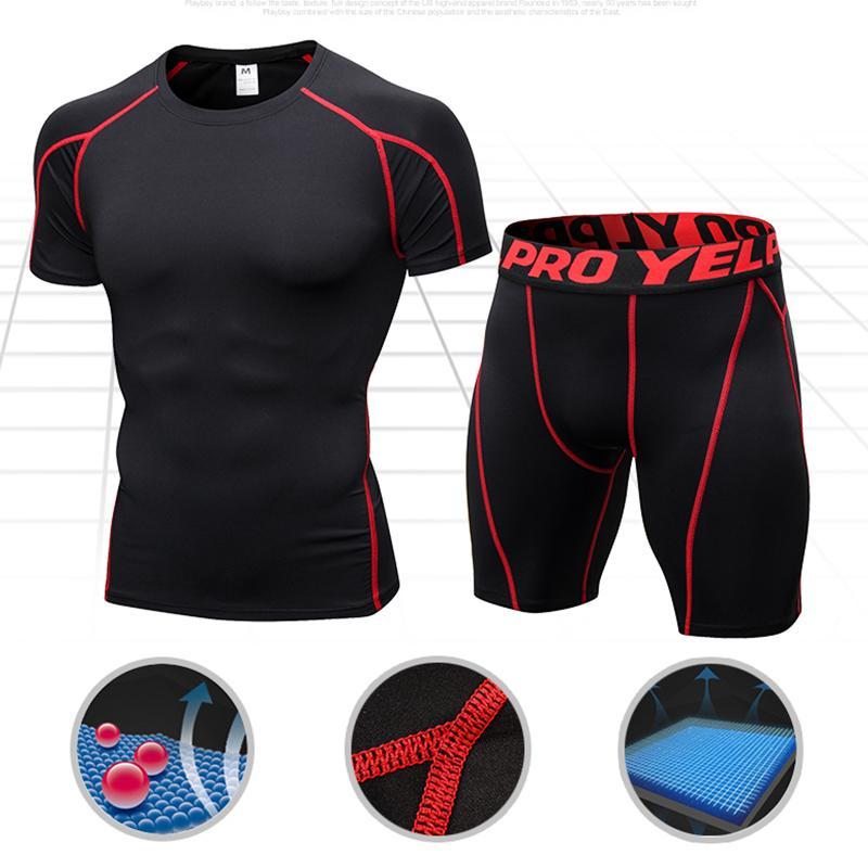 Compre Trajes De Compresión De Secado Rápido Camisa De Manga Corta +  Pantalones Cortos Para Hombres Set Para Correr Fitness Tight Sport Suit  Hombres Jogging ... 0266764945ac