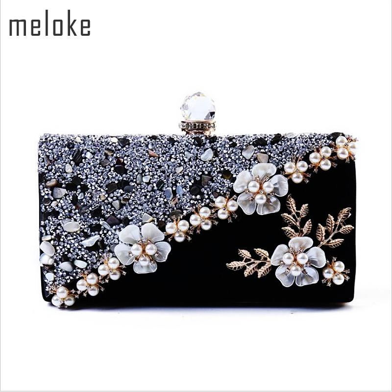 Meloke 2019 High Quality Women Diamond Patchwork Evening Bags Handmade Flowers Wedding Dinner Bags Drop Shipping Mn834 Y190627
