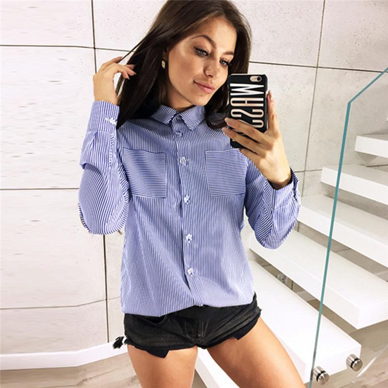 9abe60fe48c 2019 Dreamliklein Sprint Office Lady Blouse Fashion Women Striped Long  Sleeve Tops Loose Casual Shirt With Pocket From Vikey08