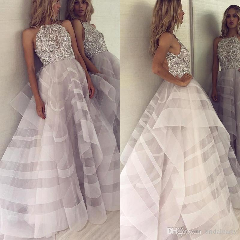 2019 Ruffled Tulle A Line Prom Gowns Sparkling Beaded Sequins Evening Gowns Cheap vestido de noche Formal Party Dresses