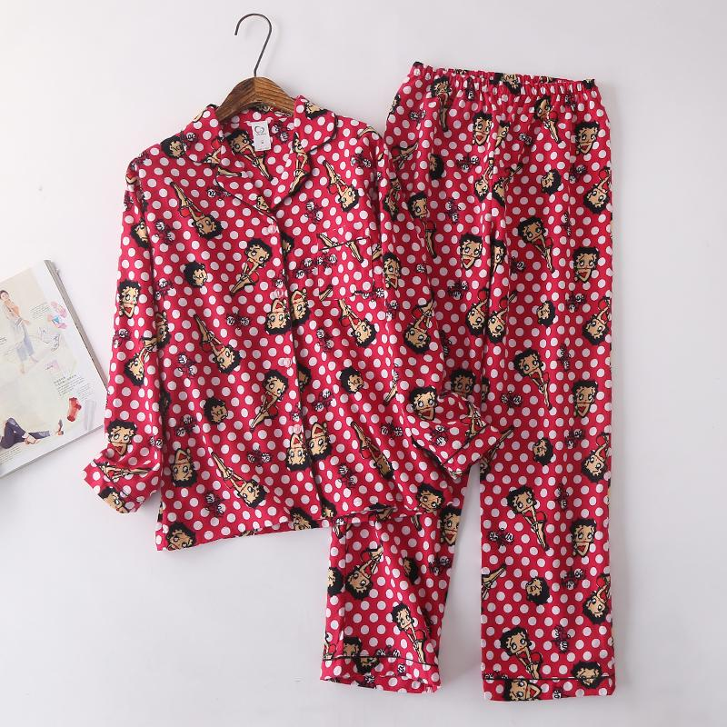 71f6235523 Women's pajamas Long sleeves sleepwear Cotton flannel Pajamas Set Animal  pijamas mujer Womens Pyjamas