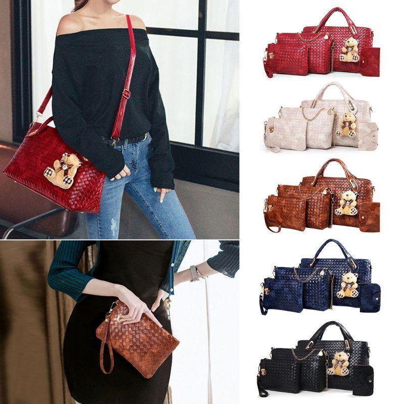 5b025a62fe71 Fashion New 4 Pcs/Set Women PU Leather Handbag Lady Female Shoulder Bag  Tote Purse Crossbody Messenger Satchel Lot Bag 5 Colors
