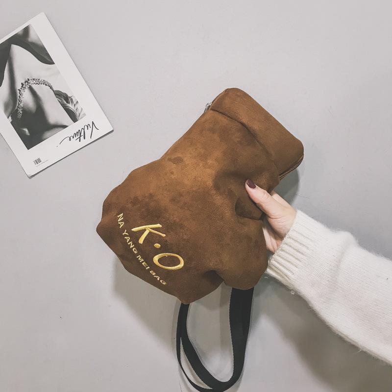 a322bd525054 2019 New Women Shoulder Bag Small Faux Suede Crossbody Bag Cute KO Boxing  Glove Shape Messenger Famous Brand