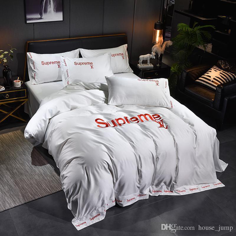 White Bedding Sets New S Letter Embroidery Hotel Simple Bed Cover Suit Pure Color Northern Europe Bed Quilt Cover 4PCS