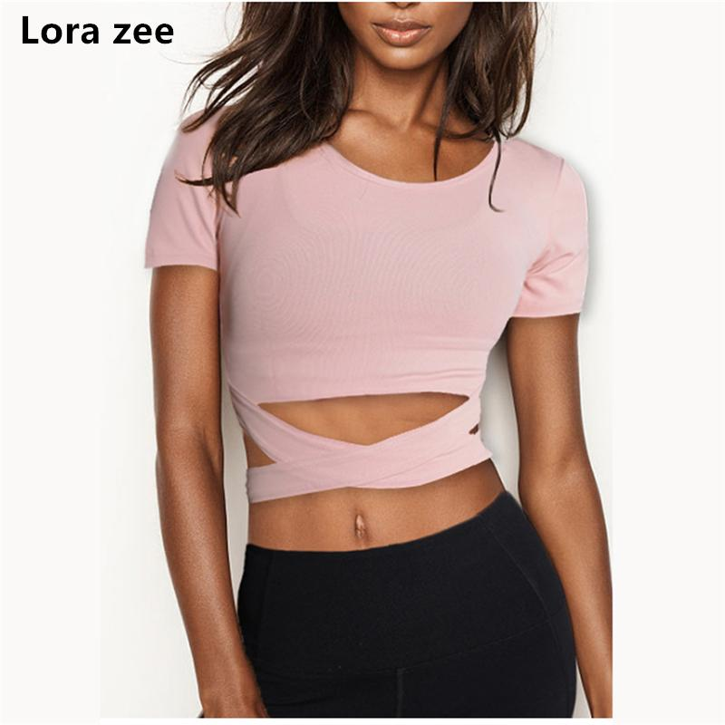 68e26599f72ce 2019 LORA ZEE Short Sleeve Strappy Sport T Shirt Lightweight Super Soft Gym  Yoga Top O Neck Tank Top Cropped Sports Wear For Women From Stem