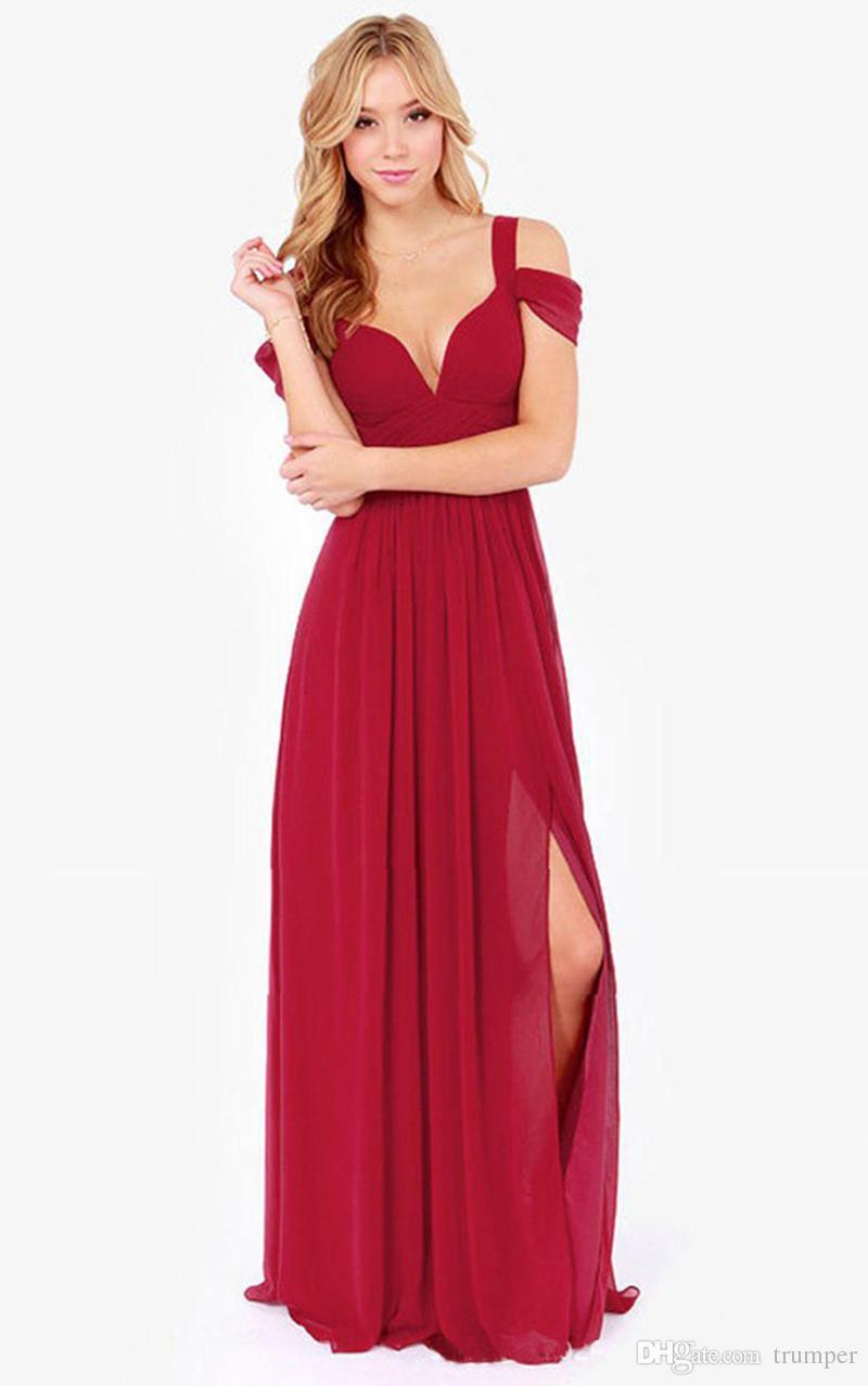 119d1c097241 2017 New Women's Open Shoulder Solid Color Dress Sexy Deep V Neck ...