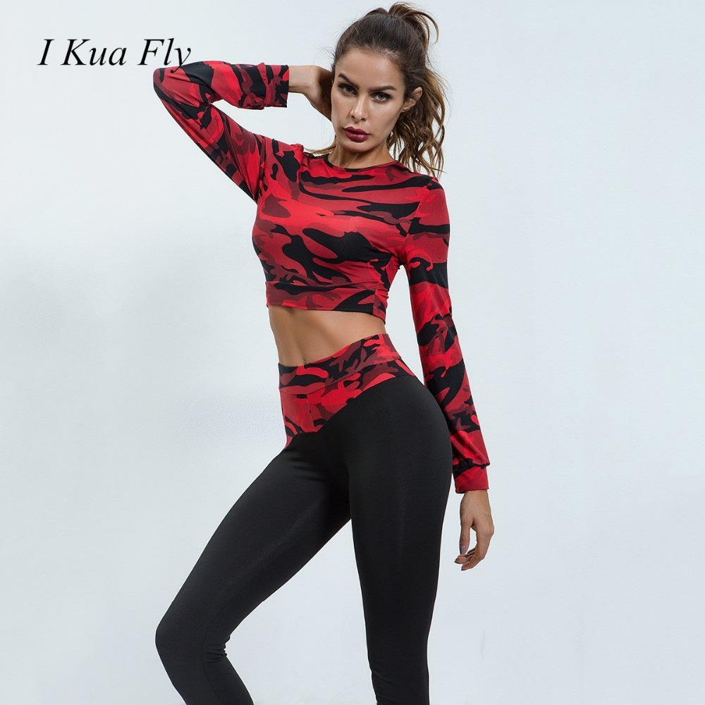 1d899c331cf516 2019 Women Fall Long Sleeve Yoga Suit Camouflage Workout Clothes Fashion  Print Sport Leggings Bras Suit Yoga Set Fitness Gym Wear Z4 From Suipao