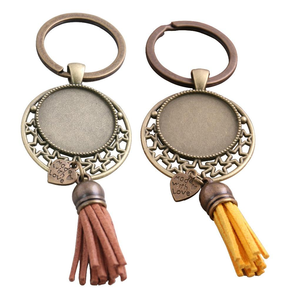 SWEET BELL 5pcs 9 color Metal Tassels Key Rings Chain Filligree star Fit round 25mm Cabochon Logo Pendant Diy Jewelry D6455