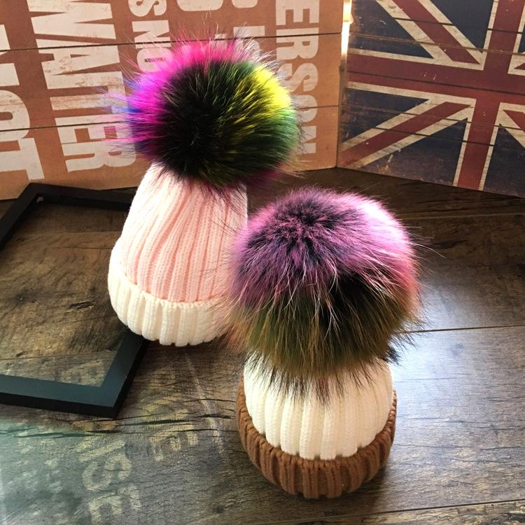 71197a93803 Real Pompom Hat Big Colored Fur Ball Cap Pom Poms Winter Hat For Women  Girls Knitted Beanies Cap Brand Thick Warm Female Custom Beanies Crochet  Beanie ...