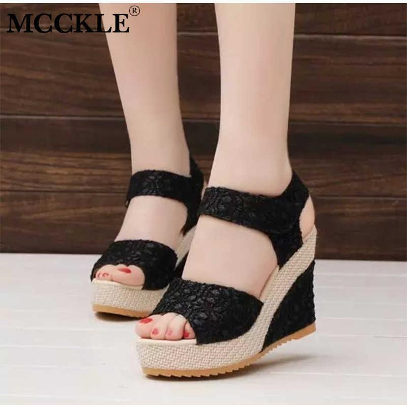 5989a8ac70c Shoes Mcckle Summer Women Fashion Wedge Sandals Peep Toe Pumps Lace Female  Hook Loop Ankle Strap Platform High Heels Ladies 2019 Boat Shoes Shoes For  Men ...