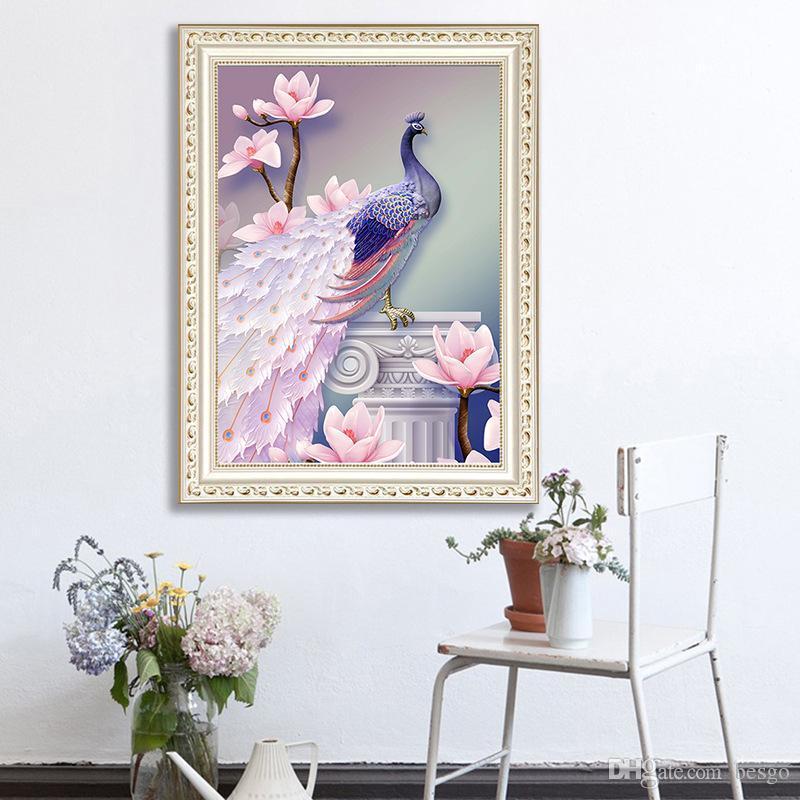 Compre DIY 5D Pintura Diamante Animal Pavo Real Decoración Del Hogar ...