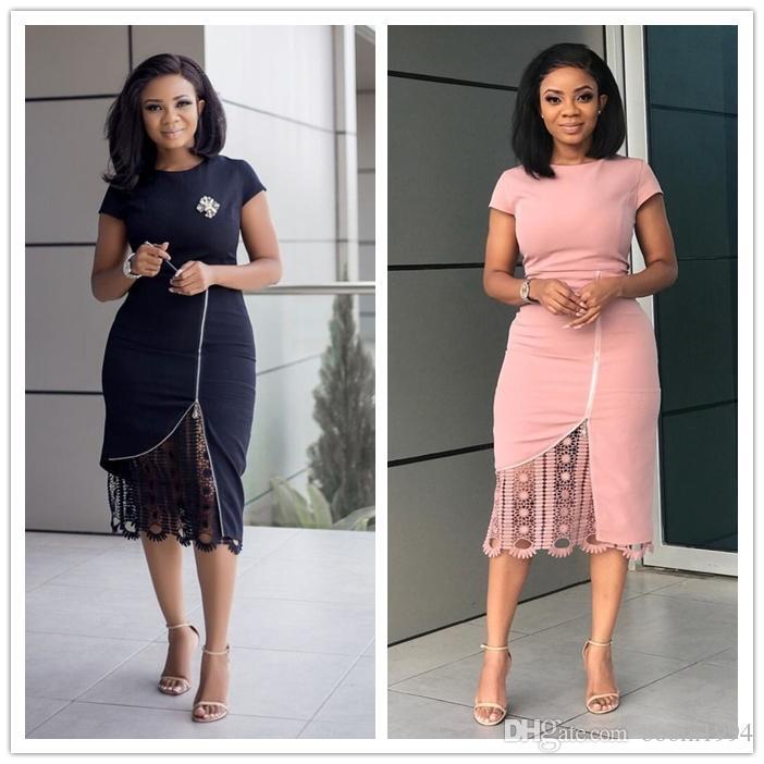 5cc80b05361b 2019 Women'S Lace Patchwork Sheath Midi Dress Fashion Short Sleeve Go To  Work Pencil Bodycon Slim Plus Size Dress From Boom1994, $23.5   DHgate.Com